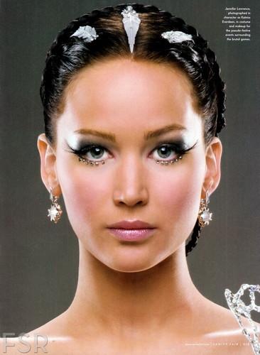 Katniss Everdeen wallpaper containing a portrait called Jennifer Lawrence as Katniss Everdeen in Catching Fire- Vanity Fair magazine