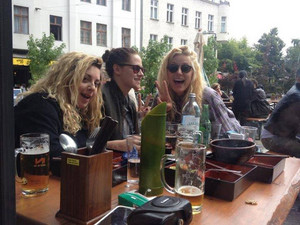 Kristen in Berlin with her Friends Suzy and Michaela August 28,2013