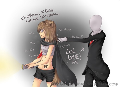 The Slender Man wallpaper possibly containing a sign called LOL nope!