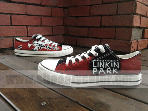 Linkin Park Hintergrund containing a running shoe entitled Linkin Park low oben, nach oben canvas shoes