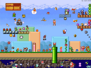 Mario vs. pêche, peach vs. yoshi vs. luigi vs. toad