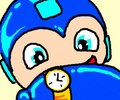 Mega Man now has a watch to keep track of time.