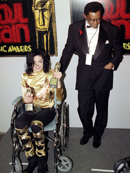 Michael And Don Cornelius Backstage At The 1993 Soul Train Muzik Awards