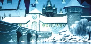 Official disney concept-art illustration of the castillo of Arendelle