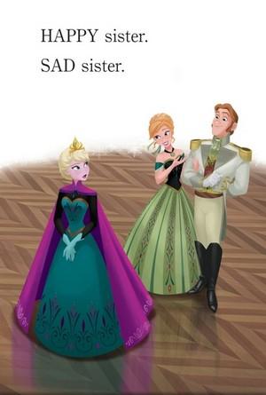 Official फ्रोज़न Illustration - Elsa, Anna and Hans