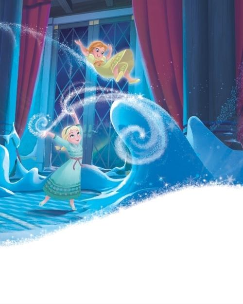 Official 겨울왕국 Illustration - Young Anna and Elsa