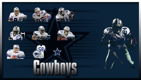 Dallas Cowboys achtergrond possibly containing a lineman, a football, and an american football titled PURO PINCHE COWBOYS!