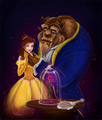 Painting of Belle and the Beast - beauty-and-the-beast fan art