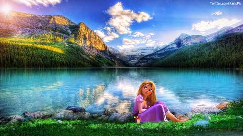 Disney wallpaper possibly with a lakeside and a riparian forest entitled Rapunzel Sit Grass Lake Tangled (@ParisPic)