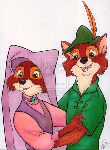 Walt Disney's Robin Hood wallpaper containing anime entitled Robin & Marian