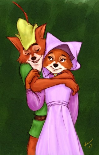 Walt Disney's Robin Hood wallpaper possibly containing anime called Robin & Marian