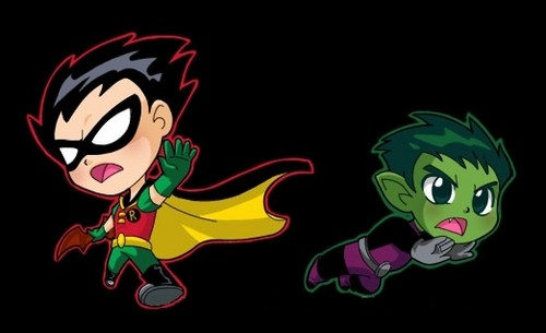 Teen Titans vs. Young Justice fond d'écran titled Robin and Beast Boy