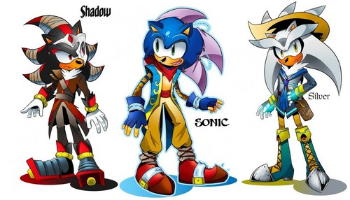 Sonic the Hedgehog karatasi la kupamba ukuta called Shadow Sonic Silver