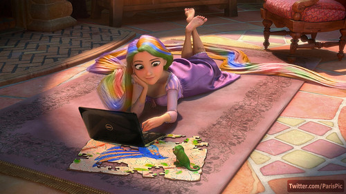 Disney's Rapunzel wallpaper titled Tangled Laptop Castle Rapunzel Hair Color (@ParisPic)