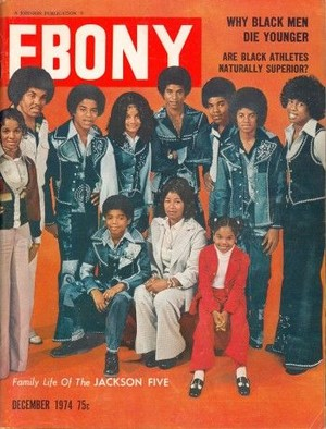 """The Jackson Family On Cover Of The December 1974 Issue Of """"EBONY"""" Magazine"""