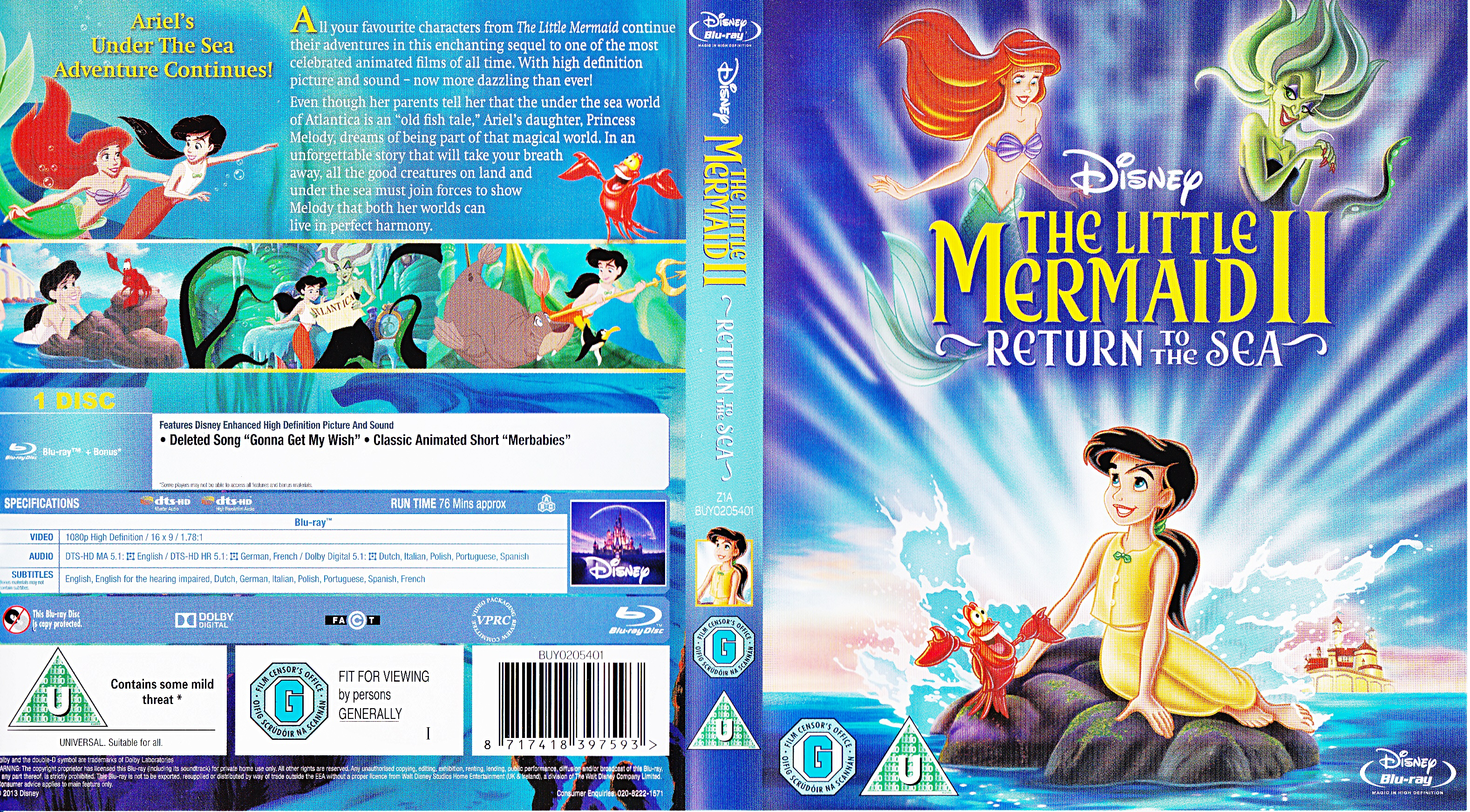 The Little Mermaid II: Return to the Sea - UK Blu-Ray Disc Cover Art