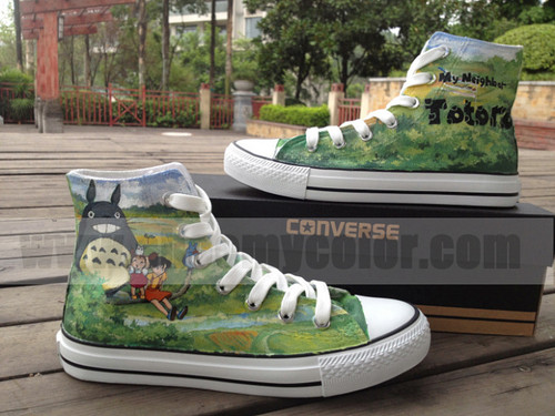 My Neighbor Totoro پیپر وال with a running shoe called Totoro converse cartoon shoes hand painted shoes