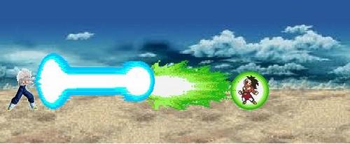 dragon ball z wallpaper titled Vegito vs Broly! (Sprite style)