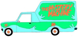 Yugo Poly painted to look like The Mystery Machine