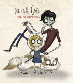 fionna and cake with vampire king