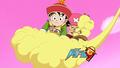 gohan and chopper on nimbus - anime fan art