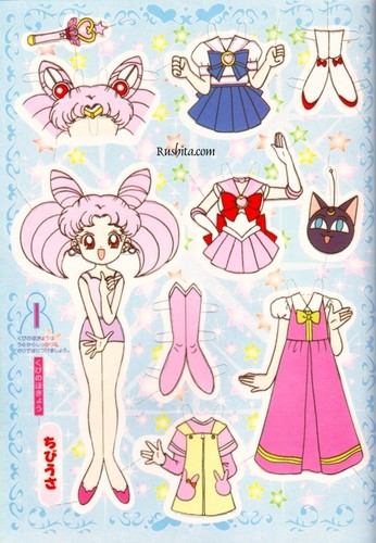 Sailor Mini moon (Rini) Hintergrund entitled paper doll