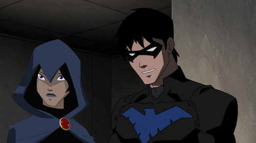Young Justice karatasi la kupamba ukuta probably with a ski mask entitled raven and nightwing