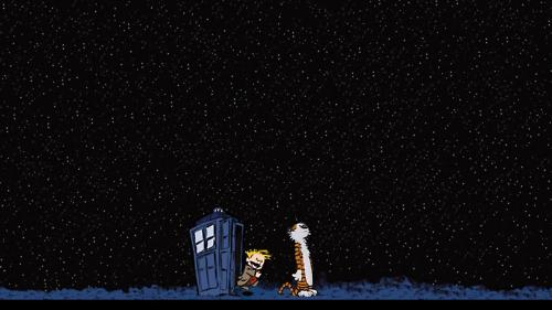 Calvin & Hobbes wallpaper possibly containing a control tower entitled the tardis in calvin and hobbes