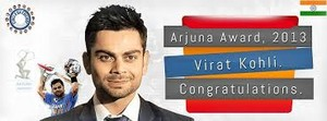 virat with arjuna award