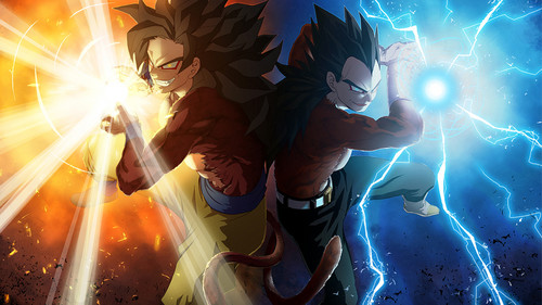 dragon ball z wallpaper probably with a fogo and a fonte called *Goku & Vageta*