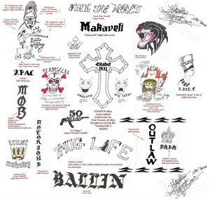 All of Tupac's tatouages drawn par 1-HunDredd