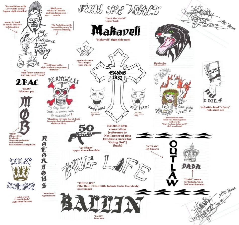 All of Tupac's tattoos drawn door 1-HunDredd