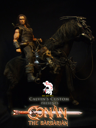 Arnold Schwarzenegger Hintergrund probably with a sign called Calvin's Custom One Sixth scale Conan the Barbarian custom figure