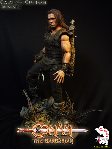 Arnold Schwarzenegger Hintergrund probably with a concert, a hip boot, and a green baskenmütze titled Calvin's Custom One Sixth scale Conan the Barbarian custom figure