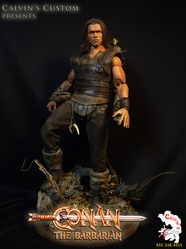 Arnold Schwarzenegger Hintergrund probably containing a breastplate and a hip boot called Calvin's Custom One Sixth scale Conan the Barbarian custom figure