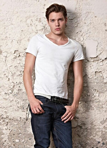The Vampire Academy Blood Sisters achtergrond possibly containing a jean, bellbottom trousers, and long trousers entitled Dominic Sherwood photoshoot
