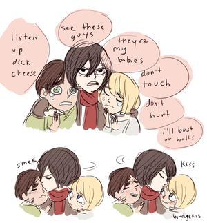 Eren, Mikasa and Armin