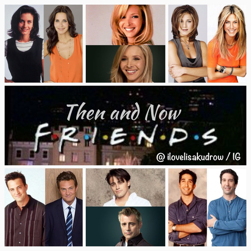 Friends wallpaper with a business suit and a portrait titled FRIENDS then & now