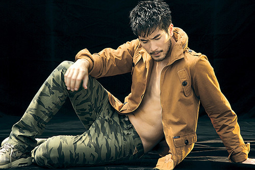 Godfrey Gao fondo de pantalla probably containing an outerwear titled Godfrey for Earl Jean F/W 2013 campaign