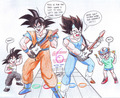 Goku vs Vegeta at Guitar Hero... XD