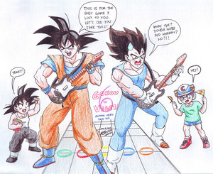 Goku vs Vegeta at گٹار Hero... XD