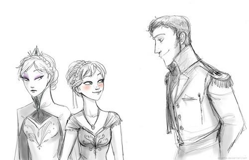 Hans hình nền with anime entitled Hans, Anna and Elsa
