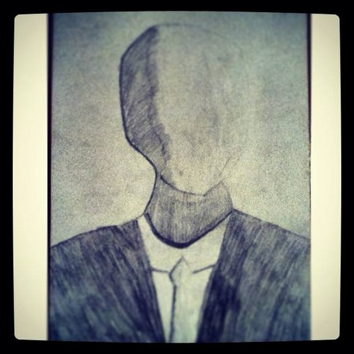 The Slender Man wallpaper probably containing a business suit, a sign, and anime entitled I draw this :)
