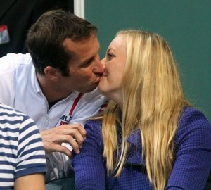 Kvitova and Stepanek kisses in the stands..