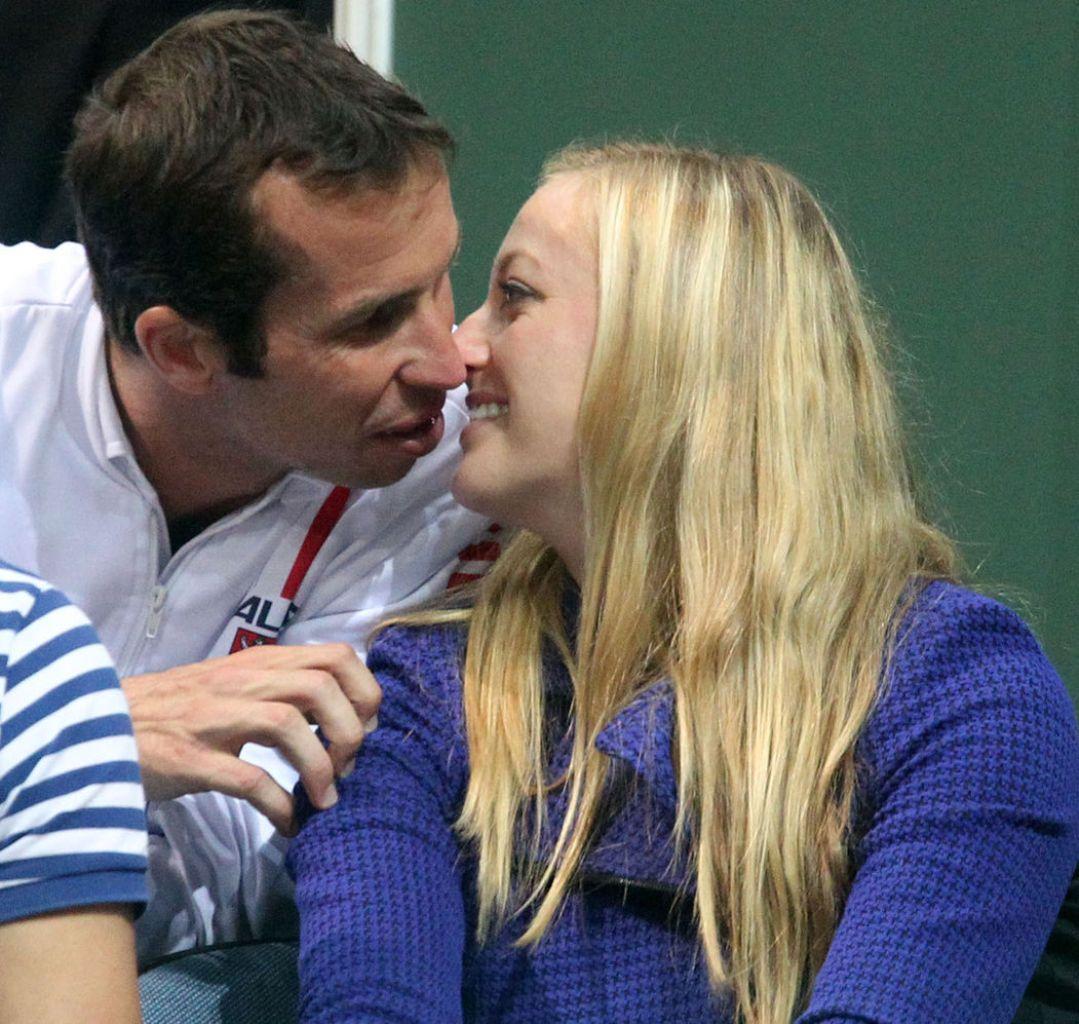 Kvitova and Stepanek kisses in the stands