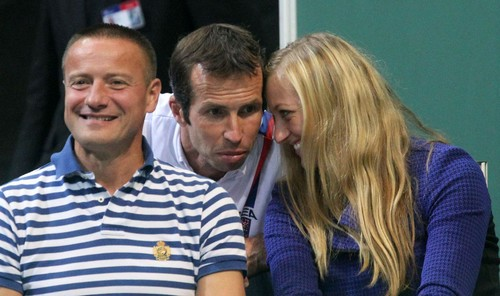 YouTube wallpaper probably containing a portrait titled Kvitova and Stepanek kisses in the stands