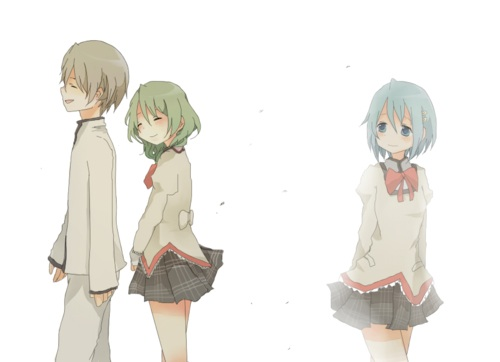 Puella Magi Madoka Magica karatasi la kupamba ukuta titled Kyousuke, Hitomi, & Sayaka