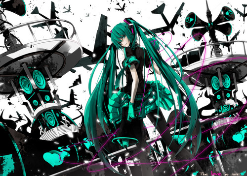Hatsune Miku kertas dinding entitled Cinta Is War