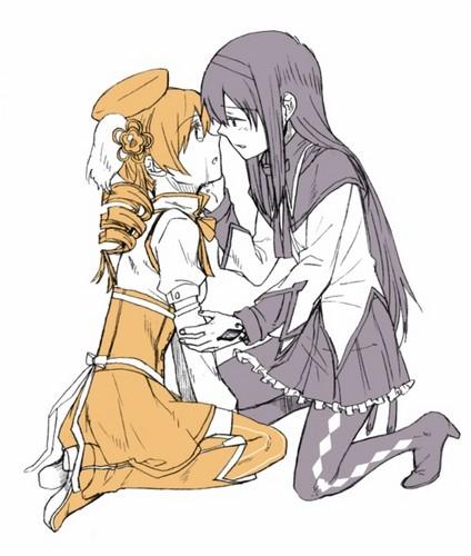 Puella Magi Madoka Magica Hintergrund with Anime entitled Mami & Homura