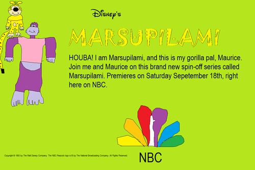 NBC wallpaper possibly with anime called Marsupilami Promotion Poster